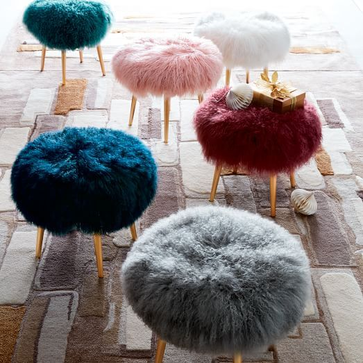 Mongolian Lamb Stool | west elm