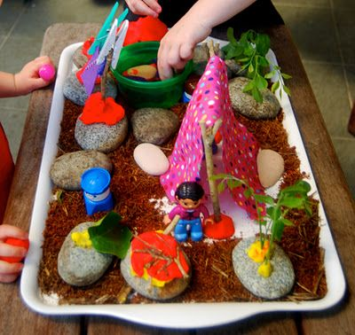 Great project idea!!! Mini pretend camping - Visit www.GrowingPlay.com for pretend play activity ideas