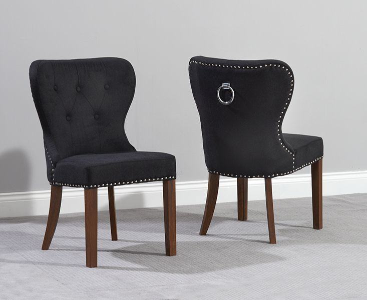 Mark Harris Kalim Solid Dark Oak Dining Chair - Black Fabric (Pair)