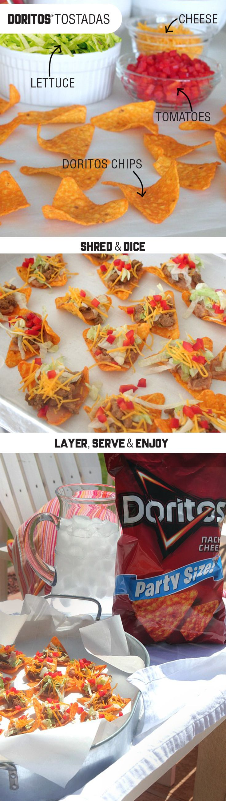 Sponsored by Frito-Lay | A little crunch can turn up the fun and flavor at any summer party. Try these Doritos® Tostadas for an irresistibly zesty and easy-to-make snack, layered with beans, ground beef, cheese, and veggies. Grab some friends and grab your other favorite Frito-Lay products® and you're good to go all summer long!
