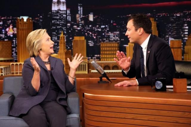 Clinton calls out Fallon's Trump interview The Democratic presidential candidate pounces on the NBC's talk show host's incoherent questions, Ken Tucker writes.Also gets funny advice from kids »