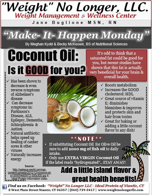 Coconut Oil: Is it good for you? #healthy #weightnolongerllc weight loss -- Ideal protein