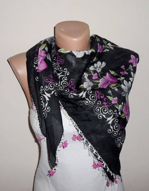 black scarf flower green purple cotton scarf turkish scarf