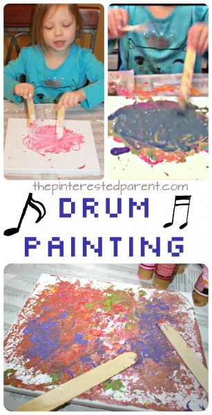 Canvas Drum Painting This is a fun and messy piece of process art that the kids will love. Turn up the music and then drum and splatter and paint away…