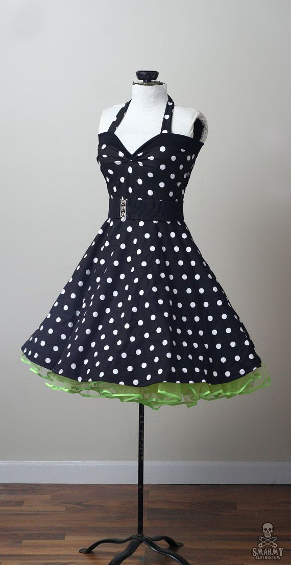 Polka dot retro rockabilly Yvonne swing dress by smarmyclothes | Buy it for $130