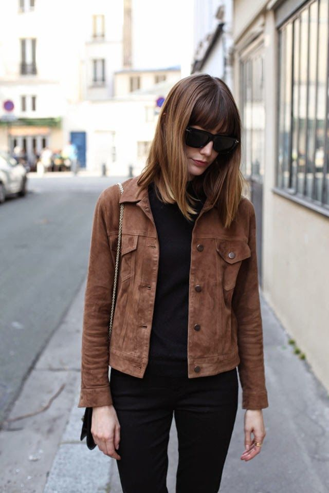 Dark brown leather jacket outfit ideas