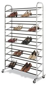 Chrome Supreme 50 Pair Shoe Rack It measures 59 3/4″ high and is 35″ wide. Depth is 9 3/8″ empty.  Everything is metallic and you securely screw down the horizontal bars on either side to the vertical bars. At the bottom, it has wheels to help you move around.  http://awsomegadgetsandtoysforgirlsandboys.com/awesome-gadgets-for-your-room/ Awesome Gadgets For Your Room: Chrome Supreme 50 Pair Shoe Rack
