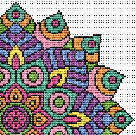 PATTERN Statement Mandala Cross Stitch Chart por theworldinstitches