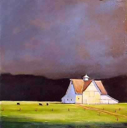 May 9 White Barn Black Cows Original Painting, painting by artist Toni Grote