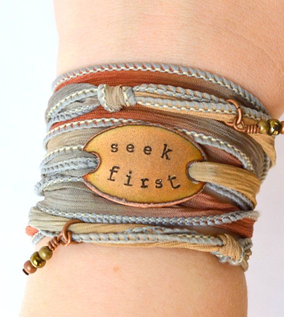 Silk wrap bracelet Seek First Boho Silk Wrap by SailorStudio