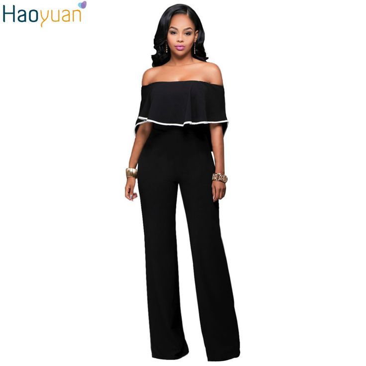 HAOYUAN Europe Fashion Sexy Romper Women Off The Shoulder Bodysuit 2017 Casual Elegant Black Back Zipper Hollow Female Jumpsuit