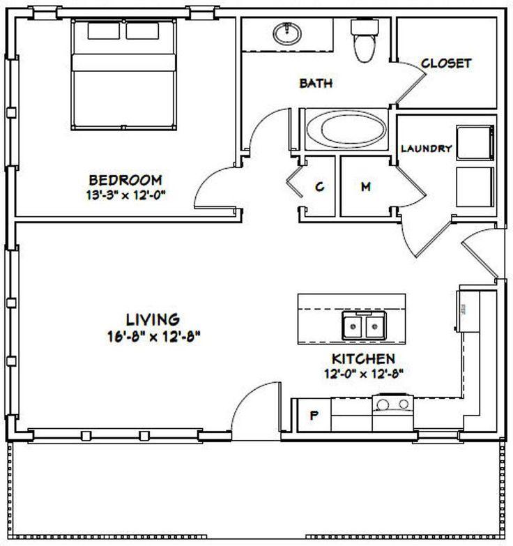 30x26 House 1Bedroom 1Bath 780 sq ft PDF Floor Plan
