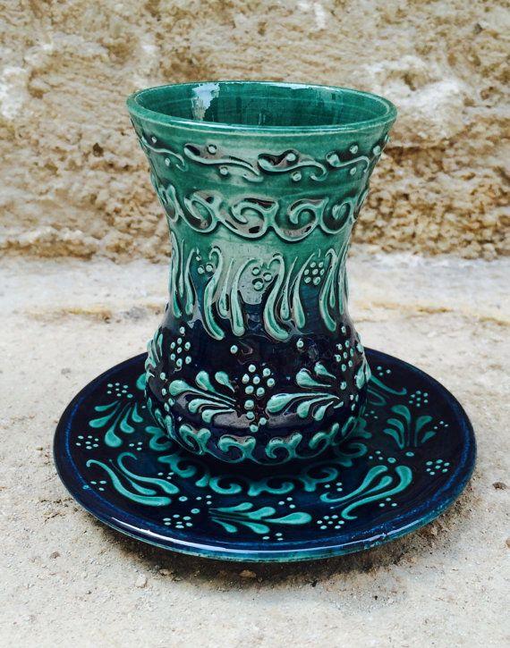 Turkish Ceramic  Turquoise Green Turkish Tea Set  by Turqu50, $75.00
