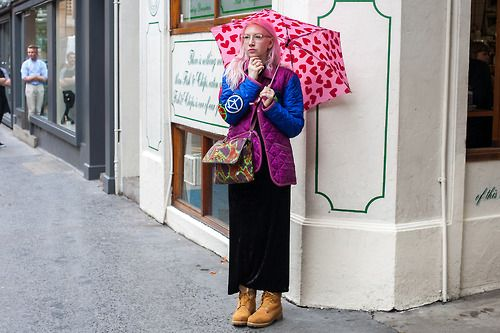 The designer Carri Mundane shows us that a cute printed umbrella can be a great statement accessory.