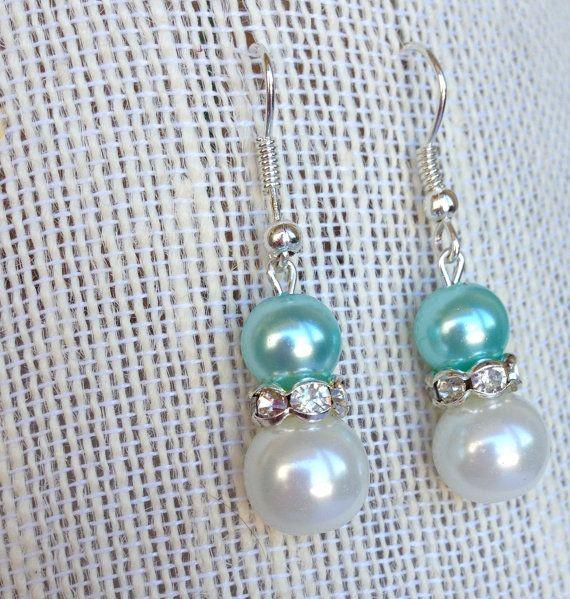 Tiffany Blue Bridesmaids Earrings Bridal Pearl by BlissfulPetals, $15.00