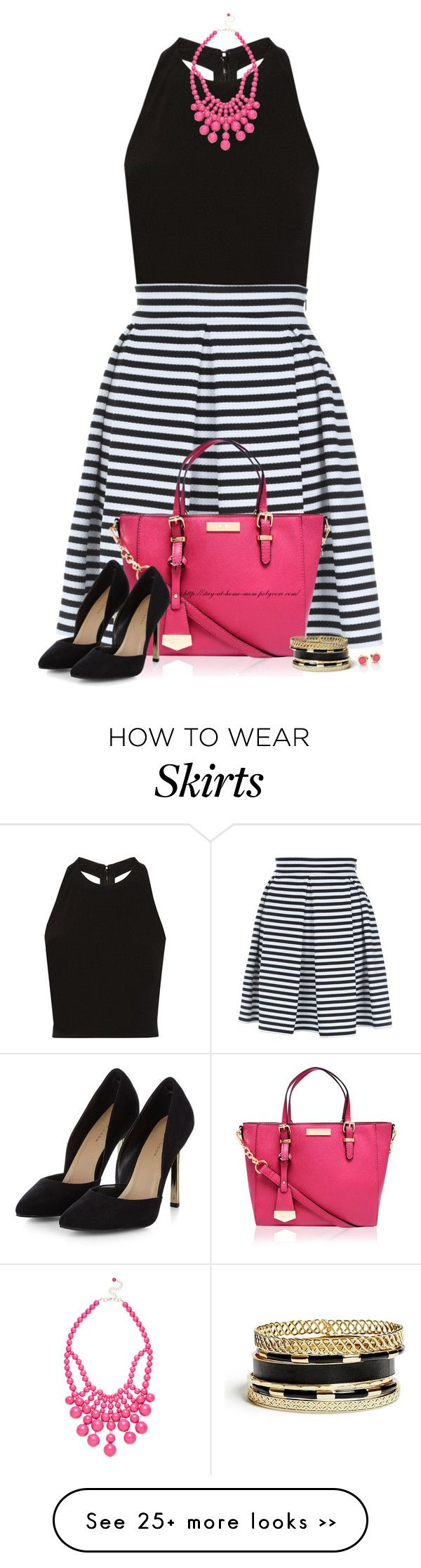 """""""Striped Skater Skirt"""" by stay-at-home-mom on Polyvore featuring Alice + Olivia, Jane Norman, Ashley Stewart, Carvela Kurt Geiger, Marc by Marc Jacobs and GUESS"""