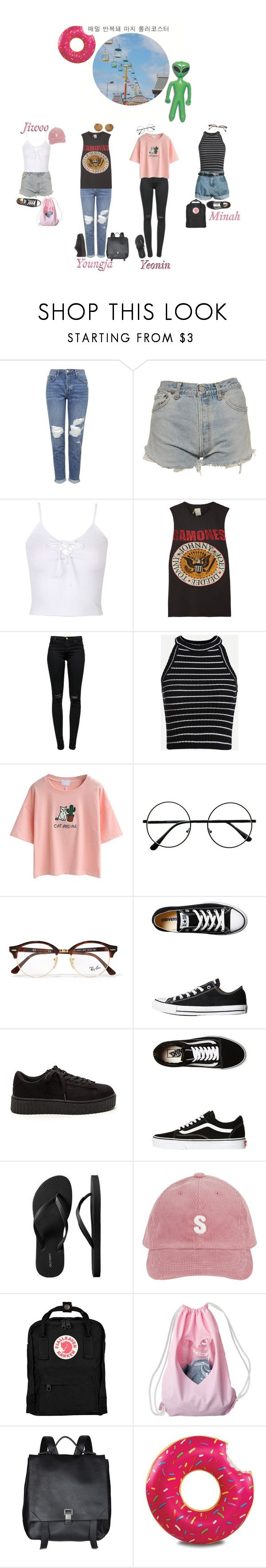 """Santa Cruz Boardwalk: 4U"" by real4u ❤ liked on Polyvore featuring Topshop, Levi's, WithChic, MadeWorn, J Brand, Retrò, Ray-Ban, Converse, Vans and Old Navy"