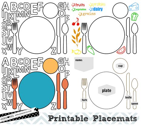 FREE PRINTABLES: Everyday Placemats {mama♥miss} ©2012