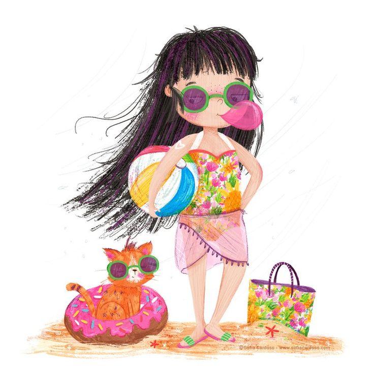 Summer girl - children's illustration by Sofia Cardoso #illustration #kidlitart