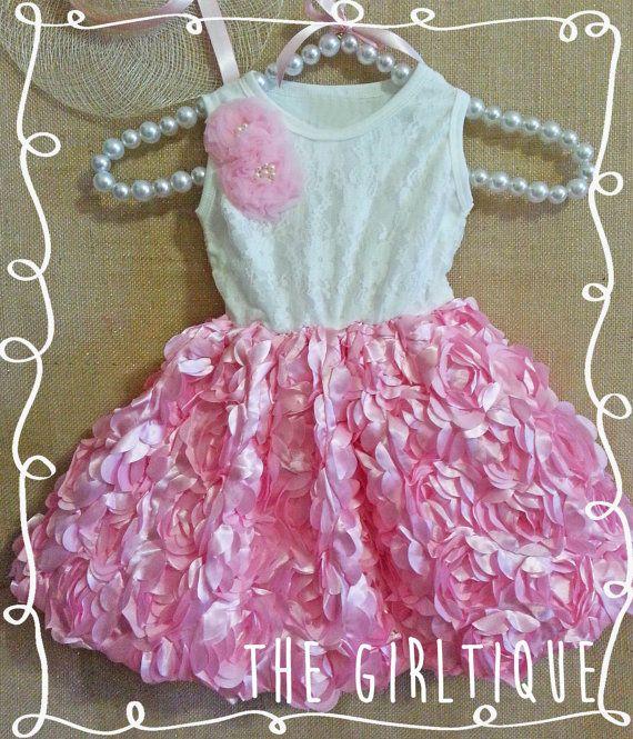Ragazze primo compleanno Outfit Rosa Rose bianco di TheGirltique