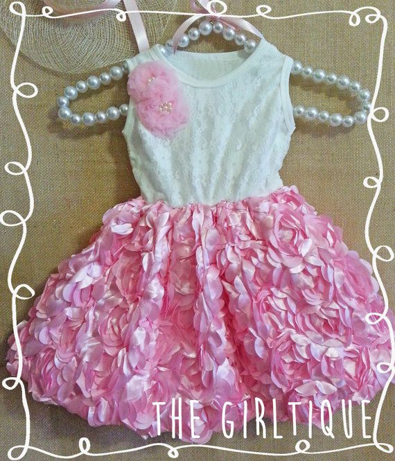 Girls First Birthday Outfit - Pink Rose White Lace Dress - Wedding - Summer Baby - First Birthday - Picture Outfit - Trendy - Flower Girl