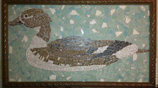 """Панно """"Уточка"""", сделанное из керамики в мозаичной технике. В раме. Возможно изготовление на заказ, точное повторение невозможно. Материалы:керамика.Размер: 44(ш)*75(д)см."""