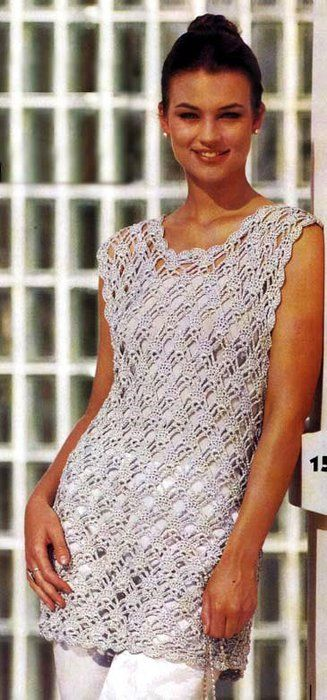"""Crochet Dress """"Elegance"""" w/ pattern chart and many other crochet tanks, dresses, and such"""