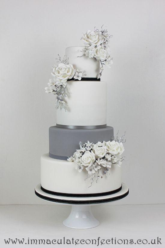 White and Grey Floral Wedding Cake Wedding Cakes - Award Winning Cakes by Natalie Porter - Hertfordshire, London and Essex #wedding #weddingcake #sugarflowers