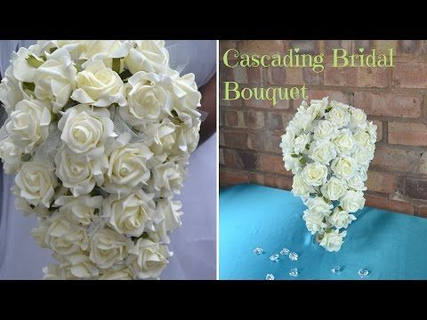How to create your own cascading bridal bouquet : DIY wedding flowers - YouTube