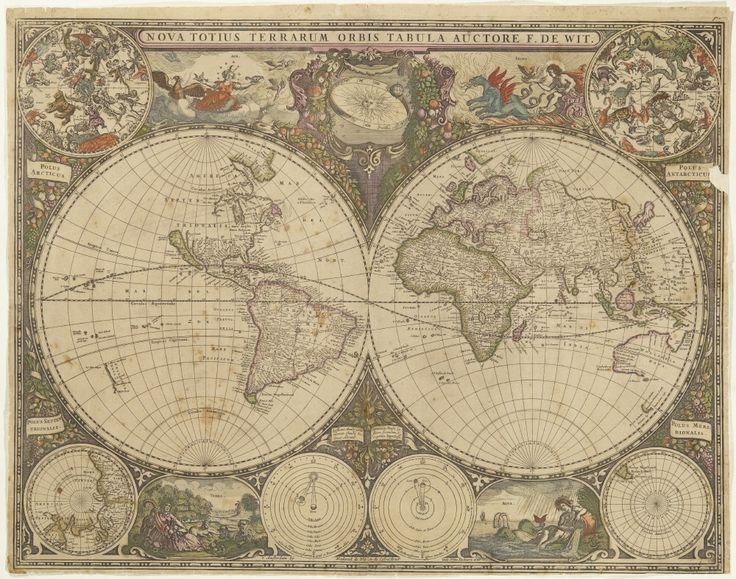 Karta med två hemisfärer, den ena av Nord- och Sydamerika, den andra Europa, Asien och Australien. /  Map with two hemispheres - one of North- and South America, and the other of Europe, Asia ans Australia.