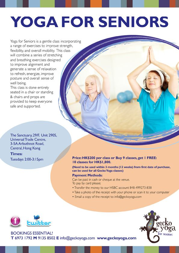 Yoga Classes for Seniors Flyer Find out the many facts about yoga - yoga flyer