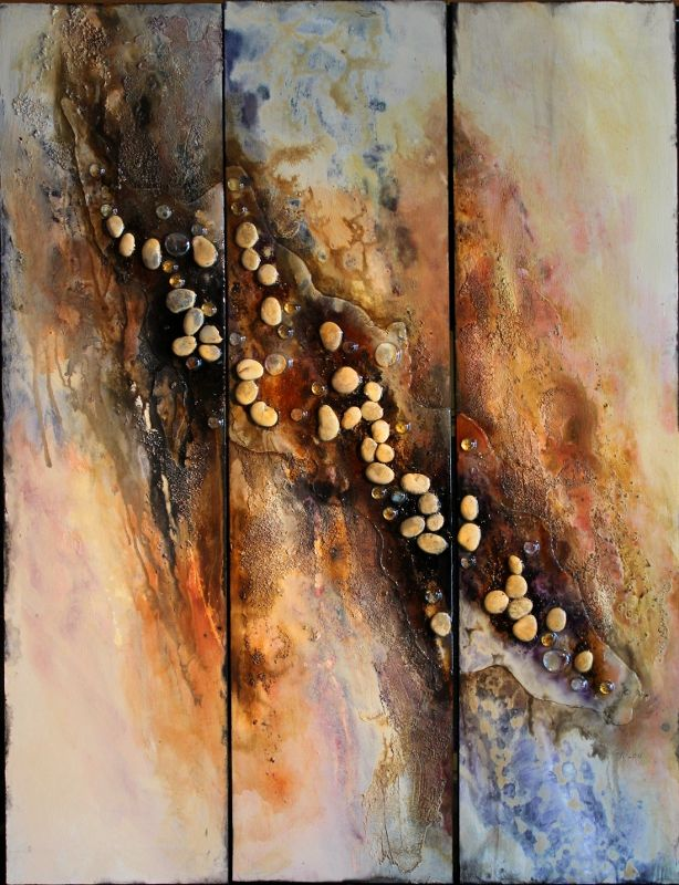 Textured abstract on 3 panels, 48x36 inches, with embedded stones.