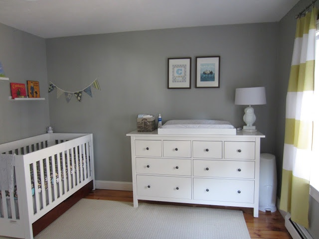 Benjamin Moore Gray Horse, IKEA dresser as changing table, Babymod crib