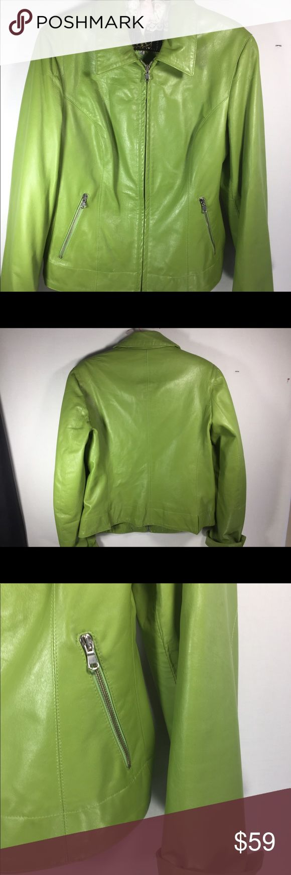 "Green Italian Leather Jacket Leonardo da Vinci NOTE tag shows Italian sizing 46. Please measure a jacket that fits you to compare.  Chest from side to side laid flat is 18"",length from from neck in back to hem is 22"". Shoulder to shoulder is 16"". Please inquire with any questions. Leonardo da Vinci Jackets & Coats"