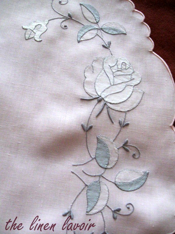 Pink Vintage Madeira Placemats Embroidered Roses Applique Shadow Work