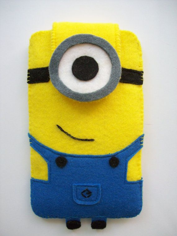 Minion felt Phones Case, Cute Minion mobile accessory, Felt cellphone case with Descipable Me Minion Design for any phone