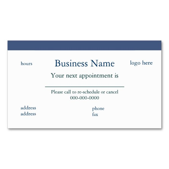 business card appointment template