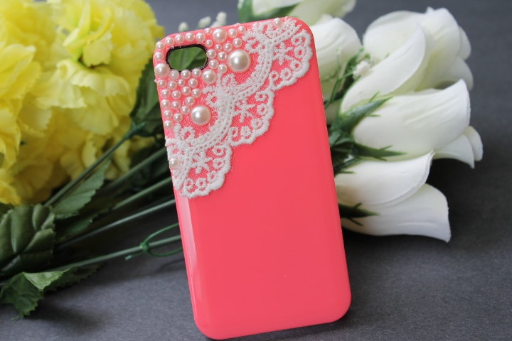 iPhone 4 case, iPhone 4s case, iPhone case, case for iPhone 4 - Hot Pink, Lace and Pearl. $21.99, via Etsy.