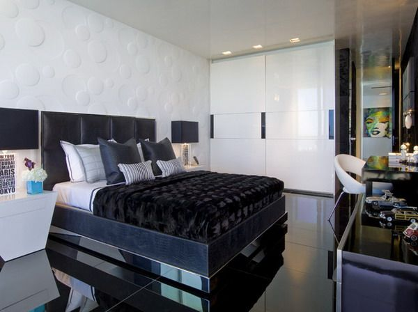Elegant Modern Master Bedroom Design Ideas In Black And White Color Scheme.