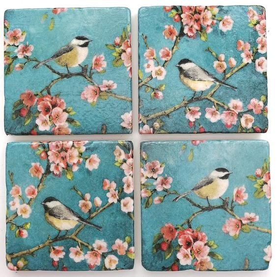 Red Breasted Robin Bird In Flight Set of 4 Coasters