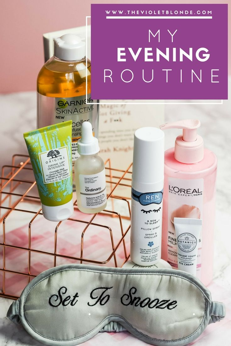 My evening routine, including products from REN, Origins, The Ordinary, Boots Botanics, L'Oreal and Garnier. The Violet Blonde - beauty and lifestyle blogger