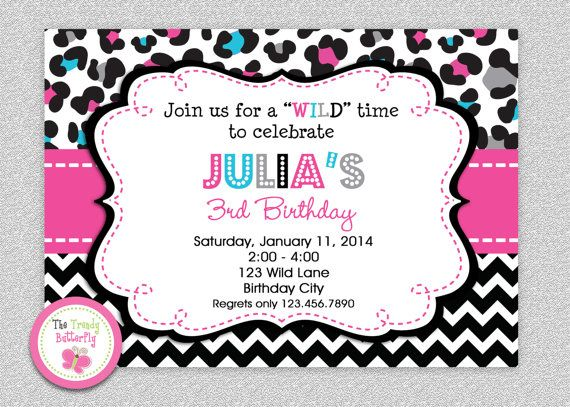 The 25 best Leopard birthday parties ideas – Cheetah Birthday Invitations