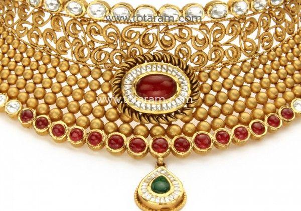 22 Karat Gold Antique Choker Necklace & Drop Earrings Set with Fancy Stones & intricate workmanship