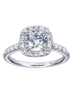 Engaged by Gabriel & Co. Style: W-ER6872D4    Engaged by Gabriel & Co. A classic halo design featuring elegant prong-set accenting around the center-stone and along each shank.