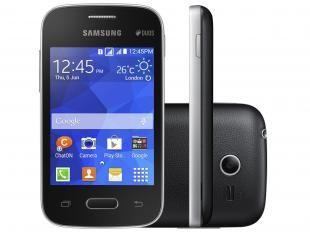 "Smartphone Samsung Galaxy Pocket 2 Duos Dual Chip - 3G Andoid 4.4 Câm. 2MP Tela 3.3"" Proc. Single Core"