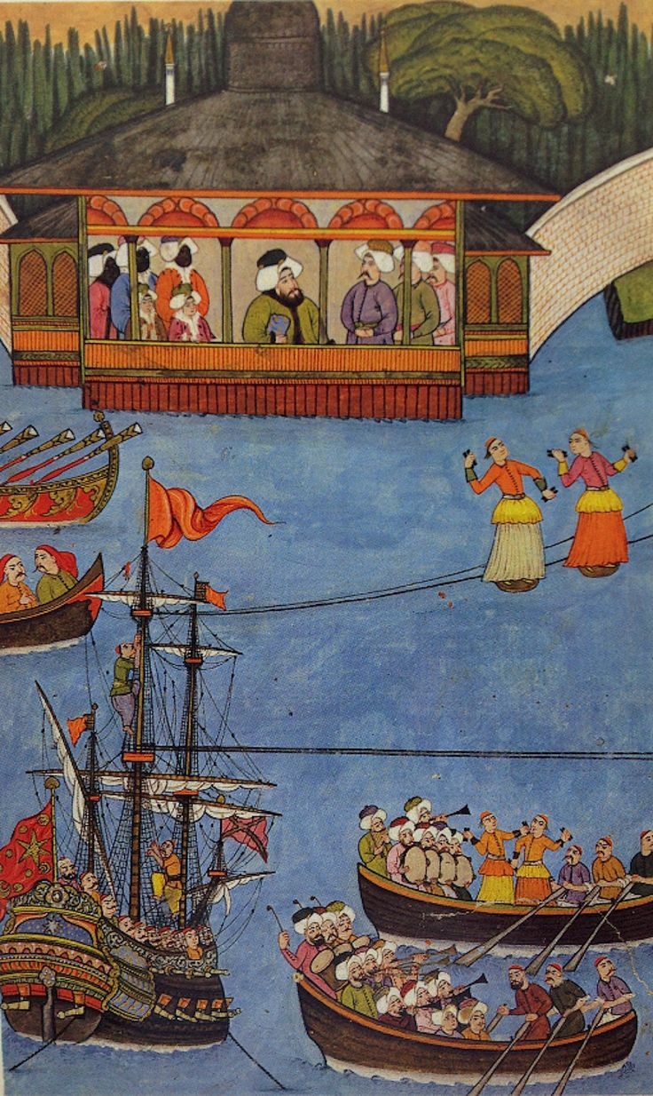 Wirewalker miniature Ottoman period. Calligrapher:  Osman Surname-i Humayun (tightrope walkers)  Osmanlı döneminde ip cambazı minyatürü. By Nakkaş Osman, Surname-i Humayun.