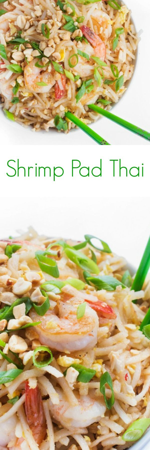 Shrimp Pad Thai - A fast and easy weeknight dinner recipe, this Shrimp Pad Thai is a lighter version of the take-out classic.