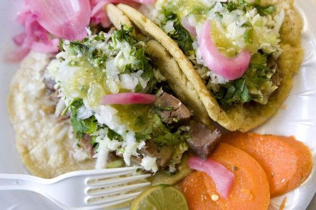 """Despite a high """"yuck"""" factor, tacos from beef cabeza, parts of a cow's head, and lengua, or tongue, are tasty."""