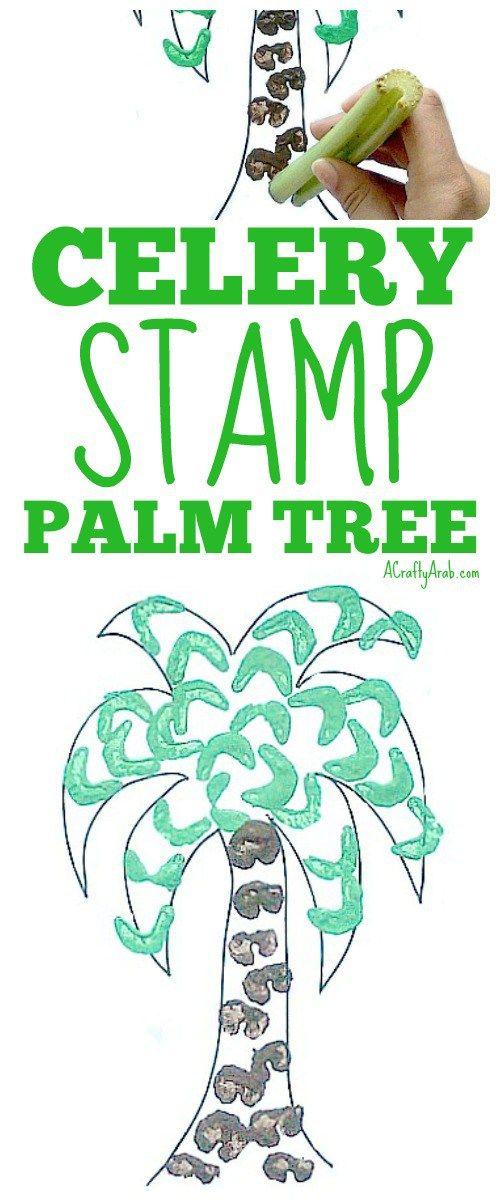 Ein schlauer Araber: Palm Tree Sellerie Stamp Art {Tutorial}. Sellerie als Pinsel verwenden …   – A Crafty Arab Blog