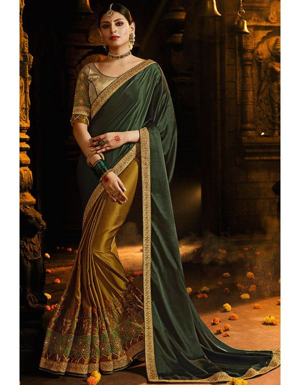 ad11cfb096d0 Golden and Mehendi Green Designer Silk Saree | Bridal (Wedding) Sarees